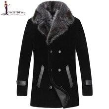 2018 прямые продажи палто большой Размеры зима стрижка овец Верхняя одежда Для мужчин цельный Пальто Длинные норка воротник шерсти куртка No454
