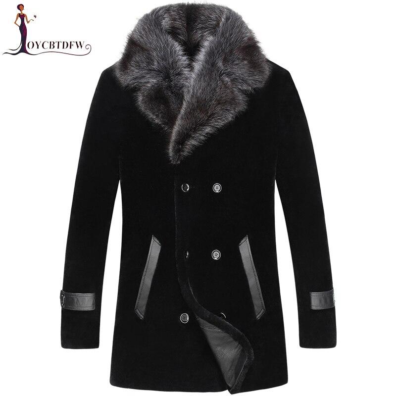 2018 Vente Directe Vente Palto Grande Taille Hiver Tonte des Moutons Survêtement Hommes d'une Seule pièce Manteau Long Col De Vison Laine veste No454