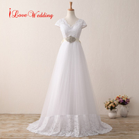 Beautiful Bohemian Wedding Dresses Short Sleeve Lace Applique Bridal Gowns V Neck Sweep Train With Beading