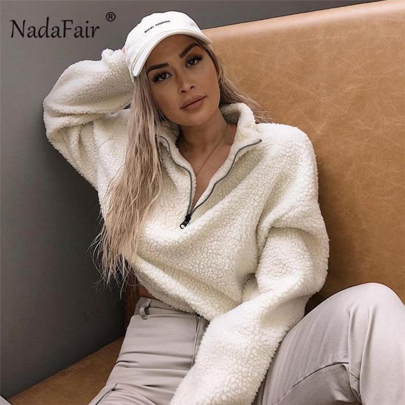 Nadafair Long Sleeve White Cropped Hoodie Women Autumn Winter Pullover Short Sweatshirt Plush Zipper Faux Fur Fluffly Sweatshirt 5