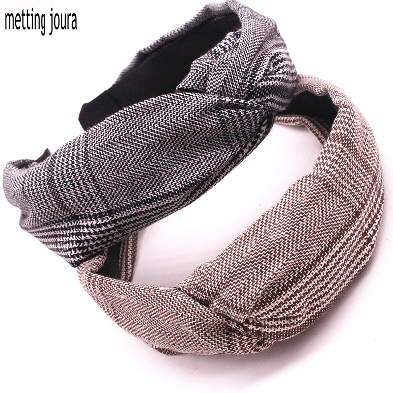 Metting Joura Bohemian Brown Black Plaid Headband Knotted Hairbands Hair Accessories Holiday metting joura vintage bohemian ethnic tribal flower print stone handmade elastic headband hair band design hair accessories