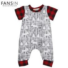FANSIN Brand 2017 Newborn Romper Christmas Deer Tree Print Baby Boys Girls Short Sleeve Long Jumpsuits Infant Kids Plaid Outfit