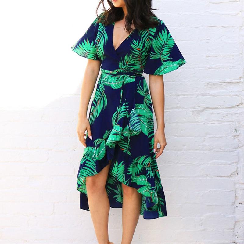 Floral Print Bohemian Beach Dress Summer Women