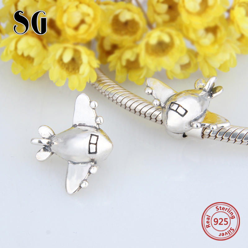 Fit authentic pandora charm bracelets airplane aircraft beads 925 sterling silver original charms diy jewelry making men gifts