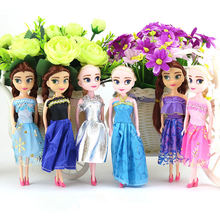 16cm Princess Anna Elsa Dolls for Girls Toys Small Plastic Baby Dolls Fashion Variety of Styles Dress Up BJD Doll for Kids Gift(China)