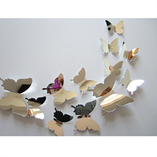 Home decoration accessories Mirror Silver High Quality Stereo Butterfly Bedroom Living Room Backdrop Decorative