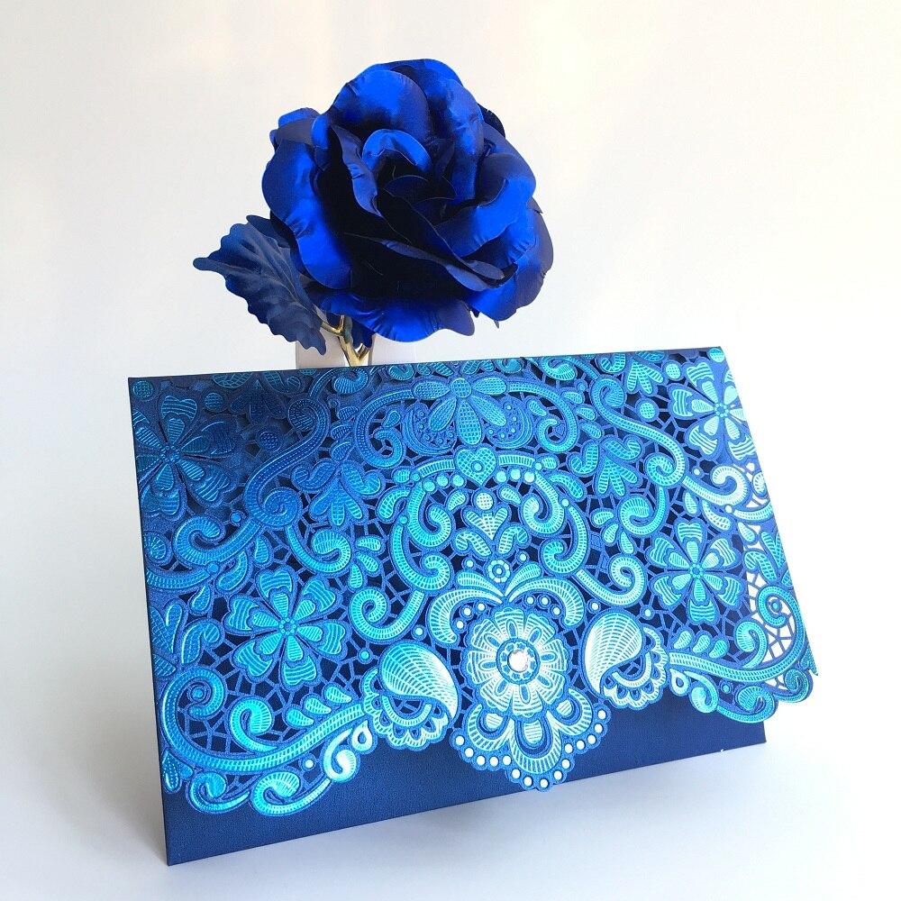 2018 Wedding Invitation Cards Rose Laser Cut Red Pink Navy Blue Gold Wedding Invitations 50pcs Birthday