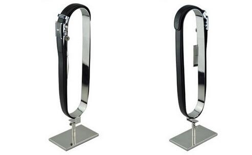 Metal silvery stainless steel mirror belt holder belt support holder stand man belt display showing rack