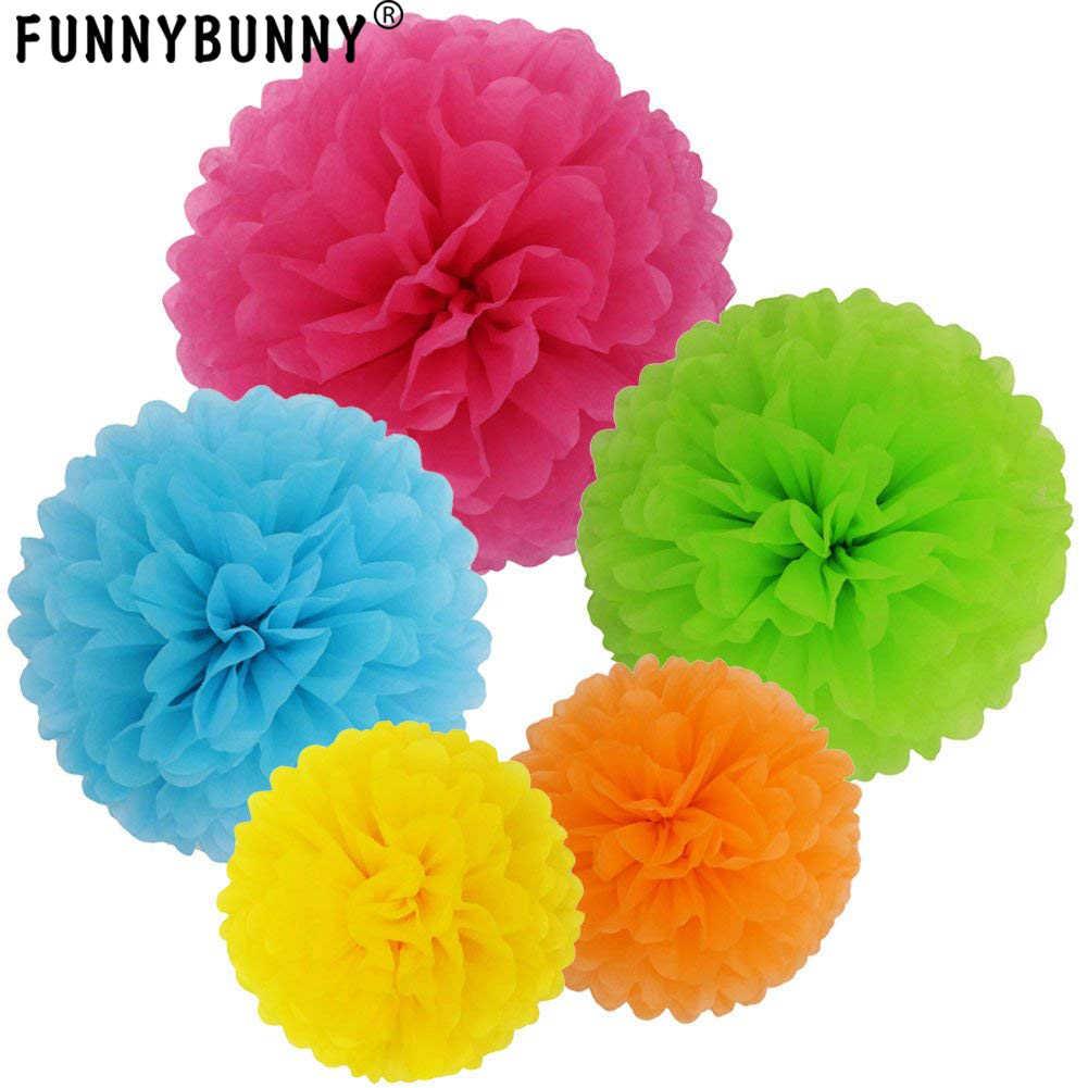 FUNNYBUNNY 13 ซม. กระดาษทิชชู Pom - poms บอลดอกไม้สำหรับงานแต่งงานและงานปาร์ตี้และตกแต่งกลางแจ้งงานแต่งงานวันเกิดฉลอง
