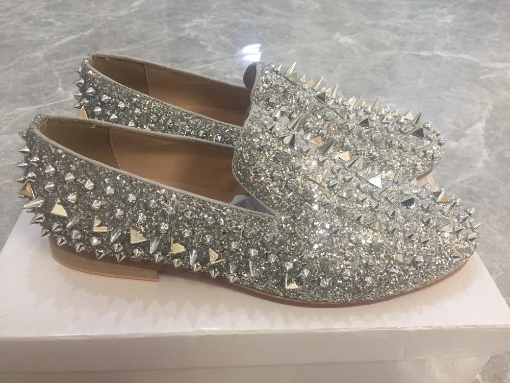 Роскошная дизайнерская мужская обувь с шипами; блестящие лоферы с квадратным носком на плоской подошве с заклепками; модная мужская обувь д... - 5