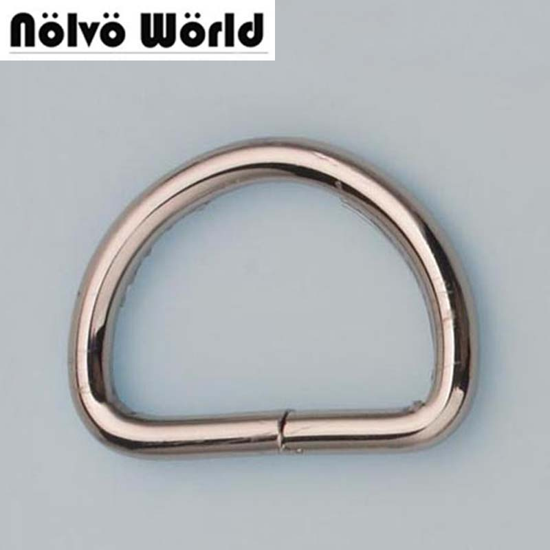 Nolvo World 5.0mm 38*25mm 1-1/2 inch inside Silver opened d ring belt buckle hardware metal d-ring for bags purses metal ring holder for smartphones silver