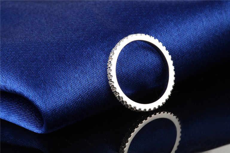 Dossy Jóias Três Cores 0.23Ct Sintético Diamantes de Noivado Anel de Casamento de Prata Esterlina 925 Anel Cor de Ouro Branco para As Mulheres