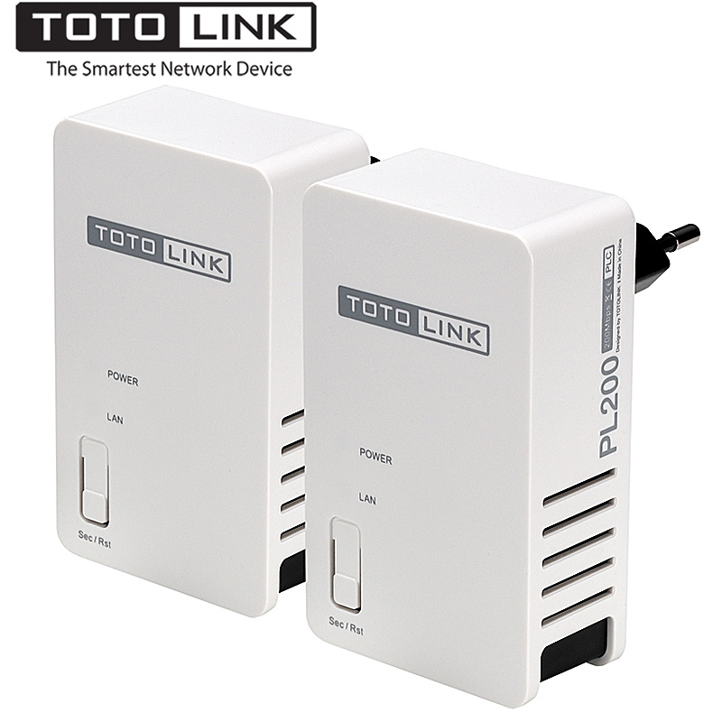 TOTOLINK PL200 KIT 200Mbps Powerline Ethernet Adapter, up to 300 Meters Coverage, HomePlug AV Ethernet Bridge, Plug and Play цена