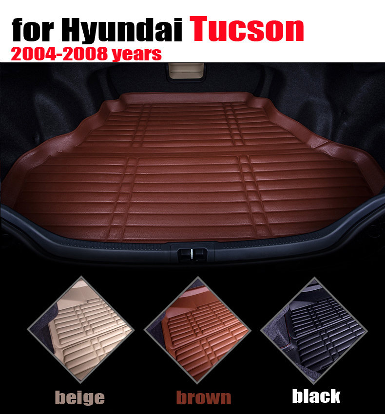 car trunk liner for Hyundai Tucson 2004 to 2008 years waterproof leather cargo liner car mats cargo mats auto autoaccessories car rear trunk security shield cargo cover for volkswagen vw tiguan 2016 2017 2018 high qualit black beige auto accessories