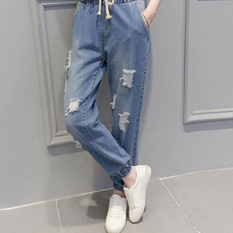2016 autumn and summer new elastic waist jeans female Korean  hole feet harem pants students women loose wild  pants S2252