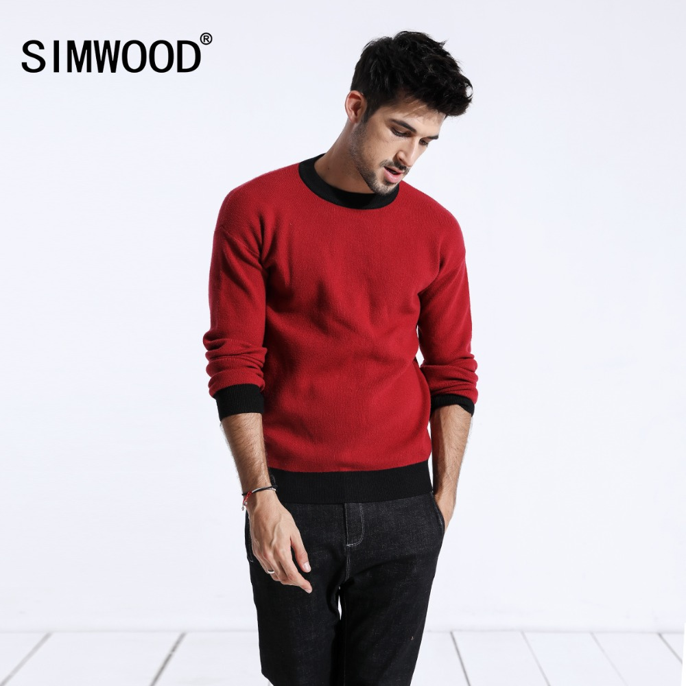 SIMWOOD Design Contrast Color Sweater Men Fashion O-Neck Knitted Pullovers Warm Slim Fit High Quality Plus Size Clothes 180464