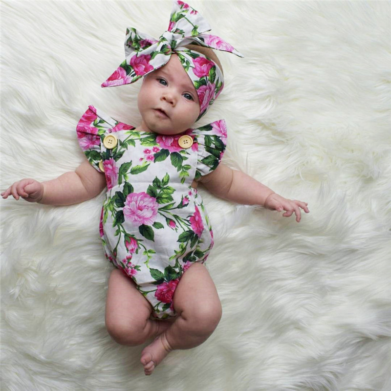 2017 New Floral Newborn Girls Clothes Summer 2017 new flower girls hair band 2 color Romper jumpsuit two sets