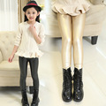 High Quality Kids Girls Fleece Faux Leather Leggings Spring And Winter Children's Fashionable Thick Warm Pants Free Shipping