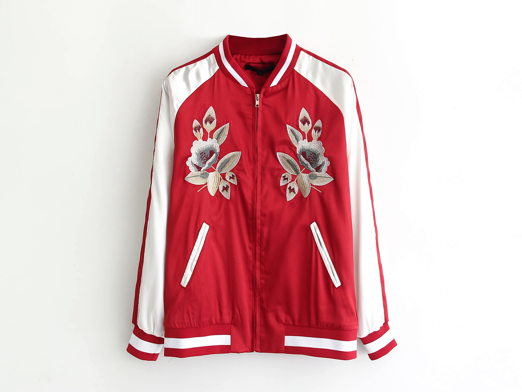 Anorak Women Red Shiny Jacket Long Sleeve O-Neck Patchwork Zipper Floral Embroidery Jacket A8746