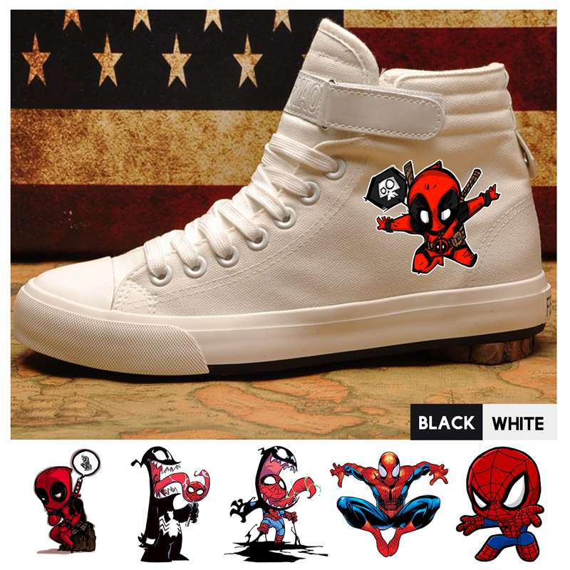 Men's Shoes Frank Marvel Comic Deadpool Venom Spider-man High Top Canvas Uppers Men Trainers With Velcroshoelace Trendy Sneakers A193291 Fine Craftsmanship