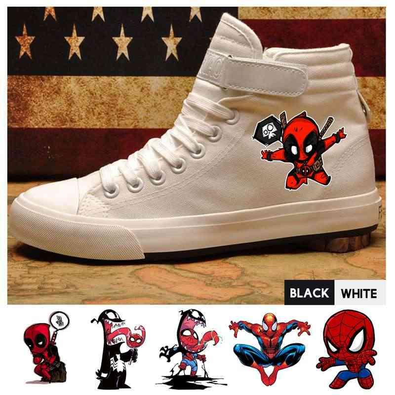 Marvel Comic Deadpool Venom Человек-паук высокие холщовые мужские кроссовки с вельветовыми шнурками модные кроссовки A193291