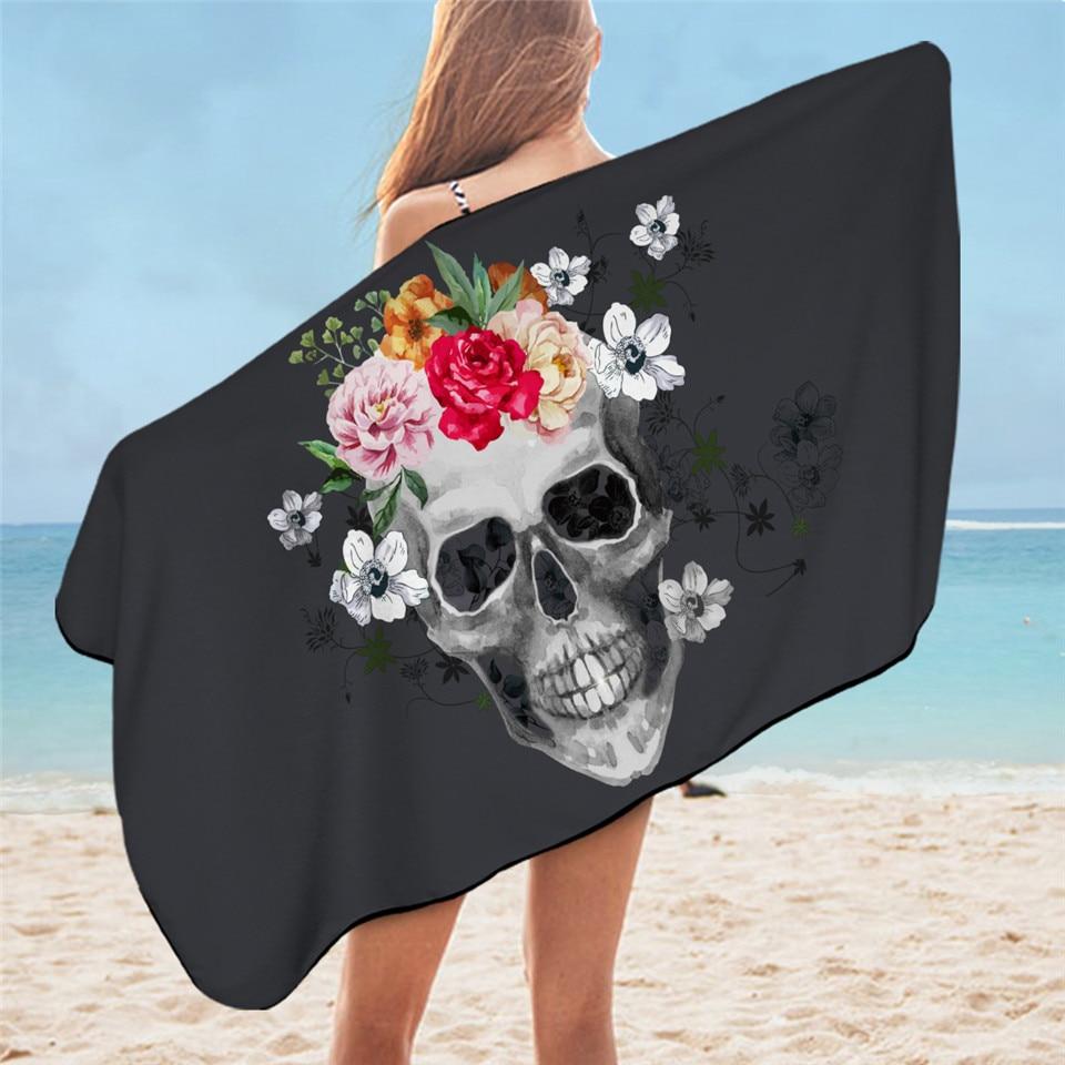 BeddingOutlet Sugar Skull Bath Towel Bathroom Microfiber Gothic Floral Beach Towel Pink Rose Rectangle Black Yoga