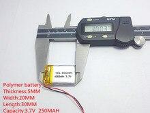 10pcs 3.7V 250mAh 502030 Lithium Polymer Li-Po li ion Rechargeable Battery cells For Mp3 MP4 MP5 GPS  mobile bluetooth