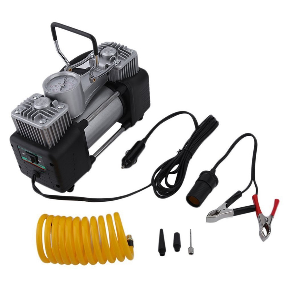 60L/min 300W 150PSI Car Air Compressor Tyre 12V Stainless Steel Double Cylinder Inflator High Power Car Tyre Inflation Pump