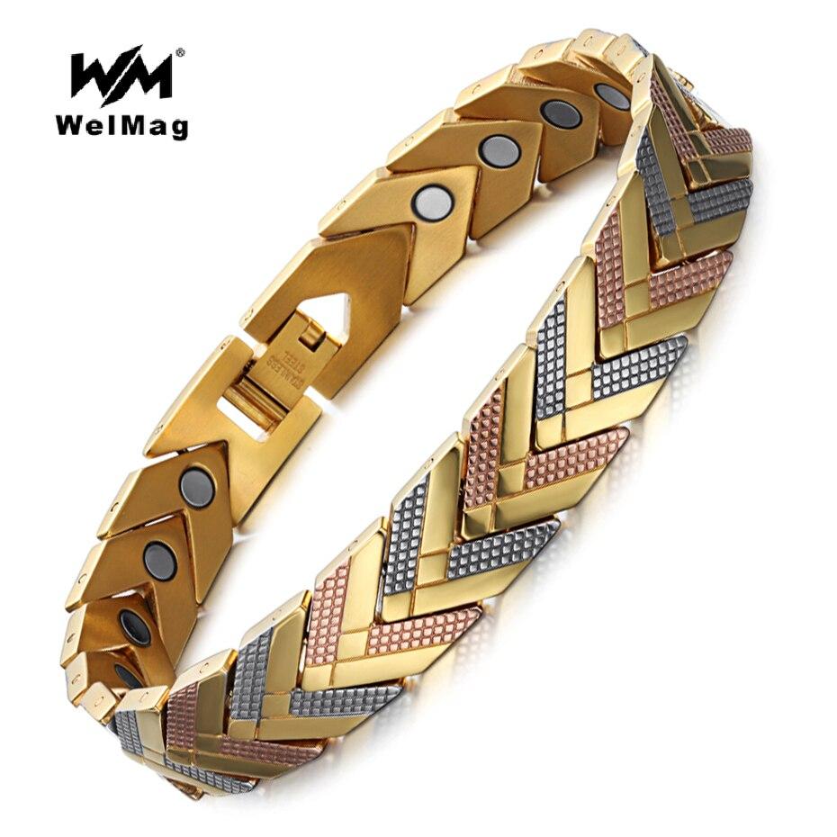 WelMag Edelstahl Gesundheit Magnetische Armband Armreif Für Frauen Bio Energie Armband 2018 Heißer Verkauf Modeschmuck Armband