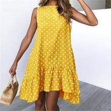 цены на Sexy Polka Dot Beach Midi Dress Women Ruffles Tank Summer Dress 2019 Sundress Pleated Casual Retro Vintage Loose Short Dresses  в интернет-магазинах