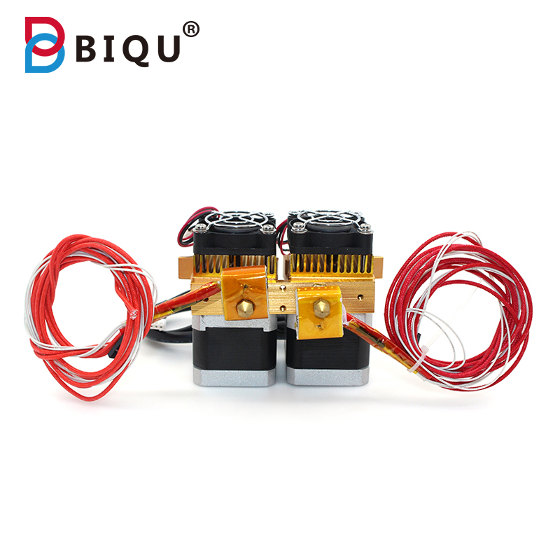 BIQU DIY 2017 Mk8 Dual Head Nozzle Extruder Double Print Head MK8 Extruder J-head Hotend For 3D Printer Reprap prusa i3 Makerbot