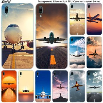 Airplane Departure Soft Silicone Phone Case for Huawei Mate 10 20 Lite Pro Enjoy 9S Y9 Y7 Y6 Y5 2019 2018 Pro 2017 Fashion Cover image