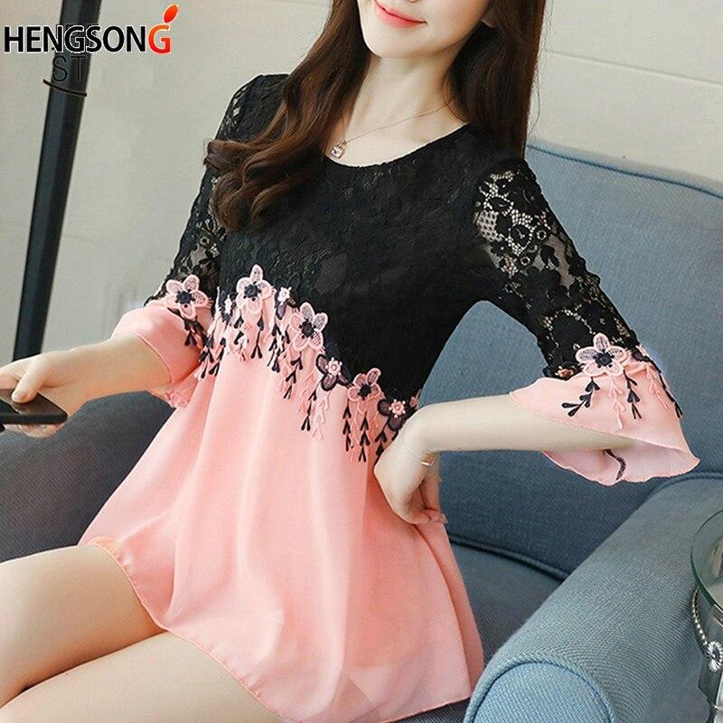 HENGSONG summer office lady elegant stitching lace dress o-neck sexy party mini dress flare bell sleeve dress women vestido