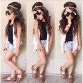 Европа лето девушки белый жилет + черный жилет + джинсовые шорты три набора
