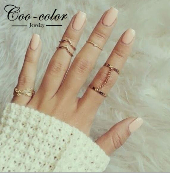 Rings fashion  Fashion Jewelry Gold Plated Stacking Midi Rings Charm Leaf ...