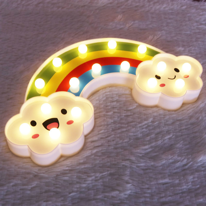 LED Rainbow Night Light Gift for Kids Batteries Powered Bedroom Decor Led Lights Lamp Children Toy Festival Night Light