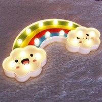 LED Rainbow Night Light Gift For Kids Batteries Powered Bedroom Decor Led Lights Lamp Children Toy