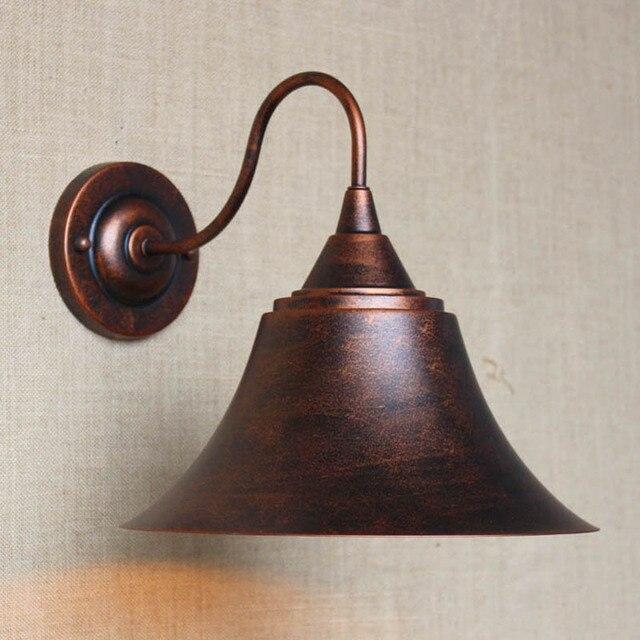 GroBartig 3 Farbe Retro Vintage LOFT Rost Braun Metall Lampenschirm Wand Lampe Für  Bar Bad Studie Schlafzimmer