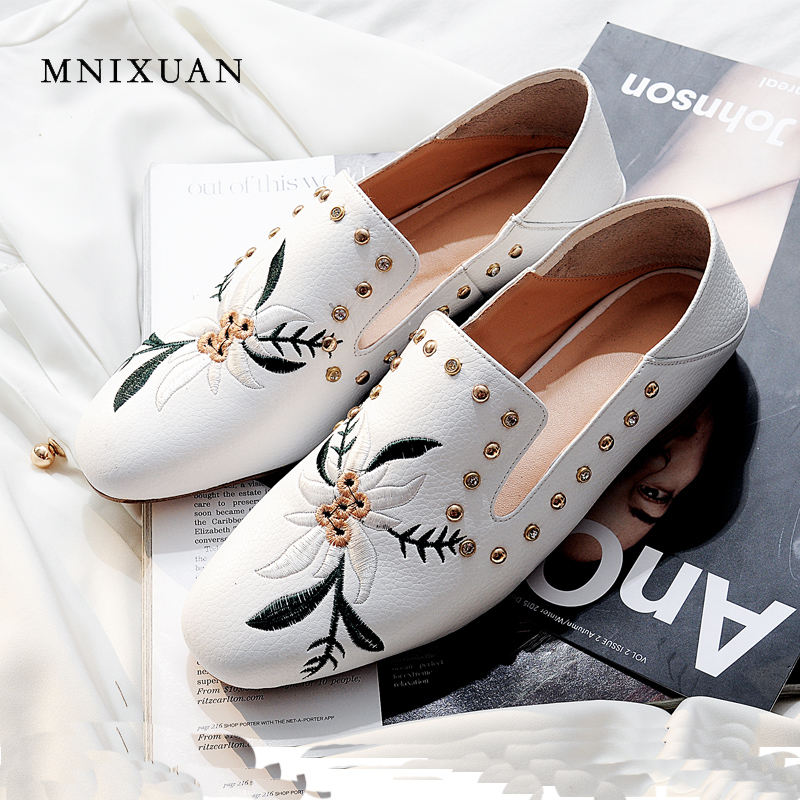 MNIXUAN comfortable women flats real leather 2018 autumn new arrival round toe casual loafers slip on ladies shoes big size 10 new round toe slip on women loafers fashion bow patent leather women flat shoes ladies casual flats big size 34 43 women oxfords
