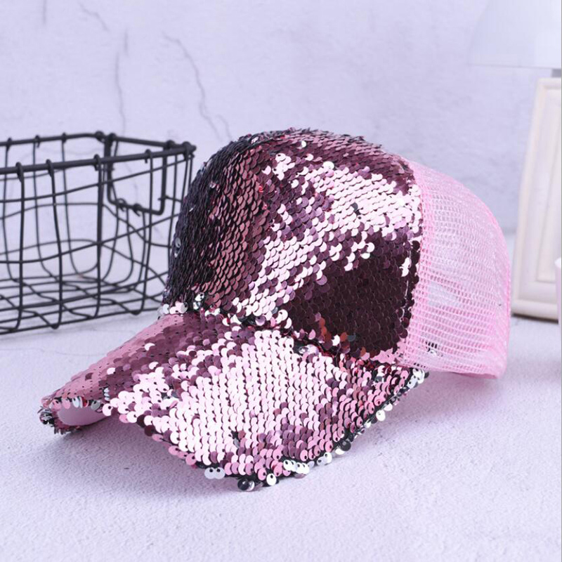 Sequins Paillette Bling Shinning Mesh   Baseball     Cap   Striking Pretty Adjustable Women Girls Hats For Party Club Gathering