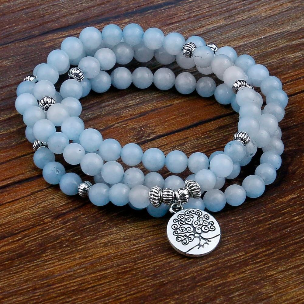 Blue Stone Beads Bracelets for Women 108 Buddha Bracelet Jewelry with Lotus Pendant Vintage Yogi Multilayer Men Jewelry все цены