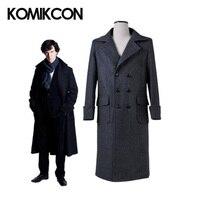 Шерлок плащ Холмса пальто косплэй костюм Человек Зимний Тренч шерсть теплая ветровка черная длинная куртка Хэллоуин Рождество верхняя оде