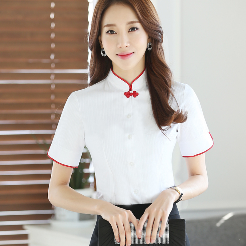 b11cf42a6fa Chinese Women Blouses Shirt Female Short Sleeve Mandarin Collar White  Blouse Tops Office Lady Plus Size Summer Style Clothes-in Blouses   Shirts  from ...
