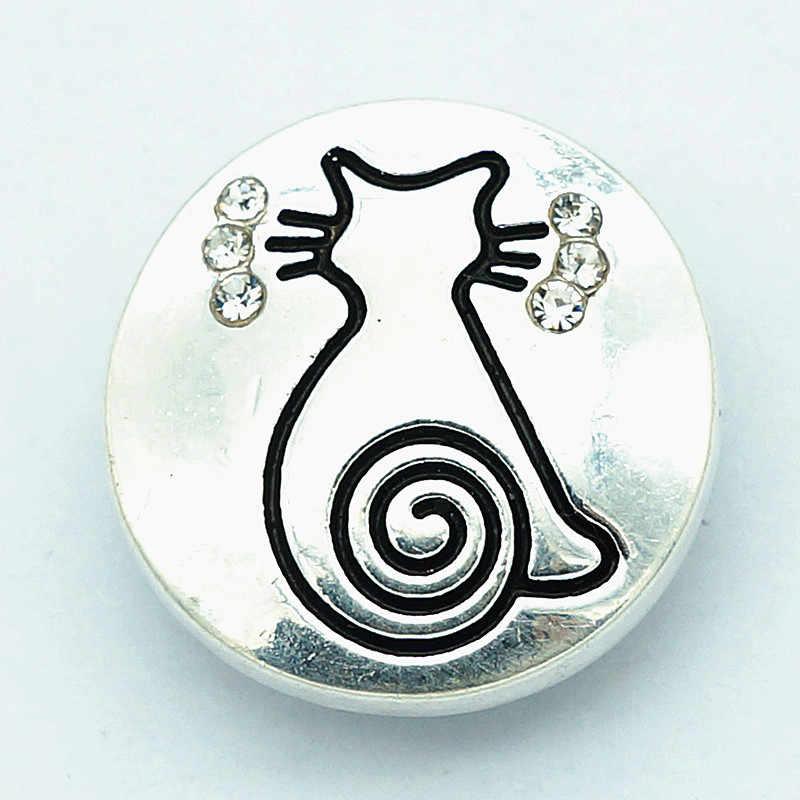 אופנה יופי אלגנטי ריינסטון חתול אמא שמש אננס 18 MM הצמד כפתורי fit הצמד צמיד הצמד תכשיטים סיטונאי KZ3116