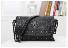 HOT SALE! Women Pu Leather Handbag Purse Designer Hand Bags female summer wild Messenger small bag rivet skull shoulder bag