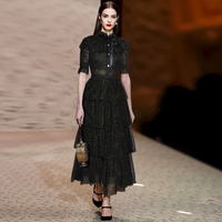 2018 runway women fashion mesh cascading ruffles Empire Long Ball Gown Party dress Bow Collar short cloak sleeve Cake dress B460