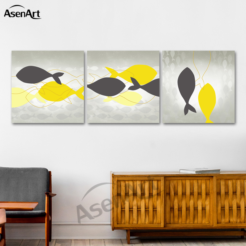 Colorful Kitchen Wall Art: Canvas Print Animal Paintings Colorful Fish Picture Nordic