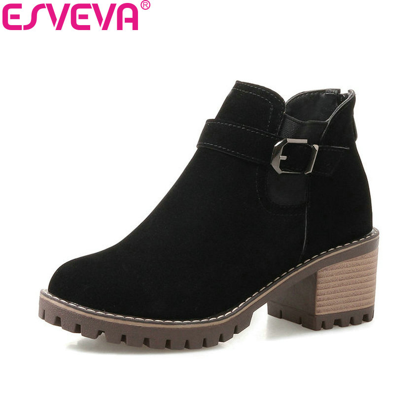 ESVEVA 2018 Women Boots Classical Scrub PU Square High Heels Ankle Boots Platform Round Toe Black Solid Ladies Boots Size 34-43 new arrival 34 40 2016 winter ankle boots for women med heels round toe platform solid casual ladies unique boots