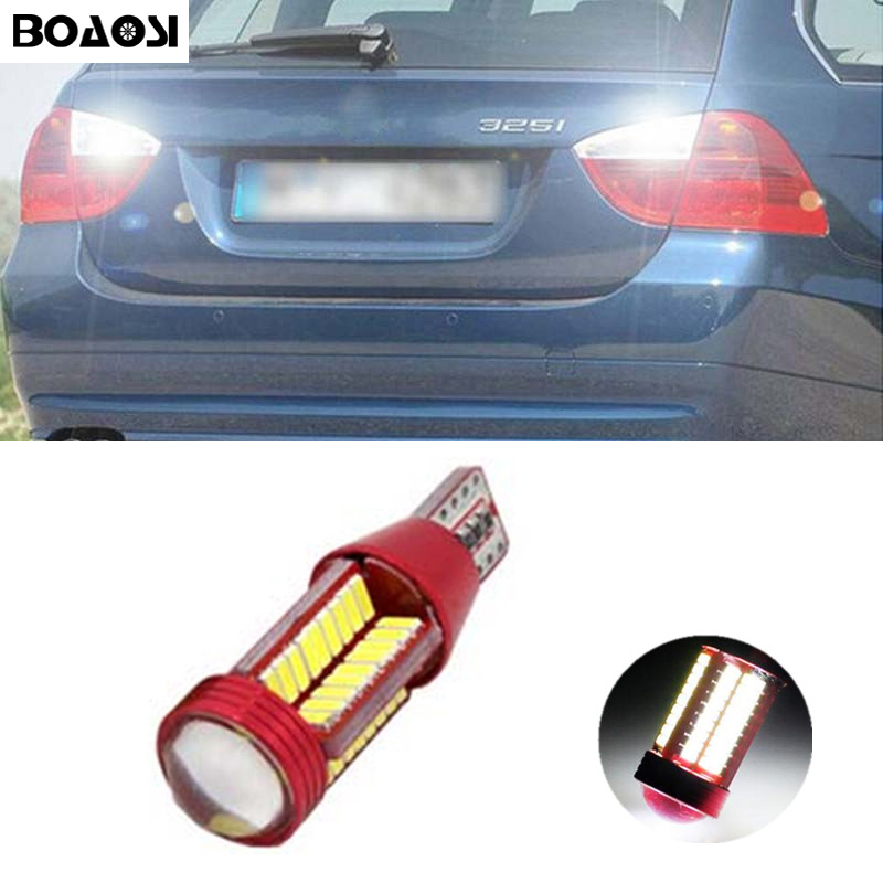 BOAOSI 1x Canbus Error Free LED T15 921 912 W16W Car LED Backup Reverse Lights For BMW 5 Series E60 E61 F10 F11 F07 Mini Cooper 2 x error free super bright white led bulbs for backup reverse light 921 912 t15 w16w for peugeot 408
