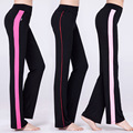 HOT 2016 indoor stretch loose fitness straight Side stripe pants Long trousers absorb sweat vent quick-drying dance clothing
